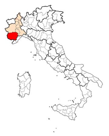 Карта Италии с провинцией Кунео